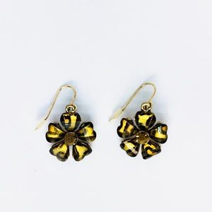 New! Leopard Print Flower Dangle Earrings Brown